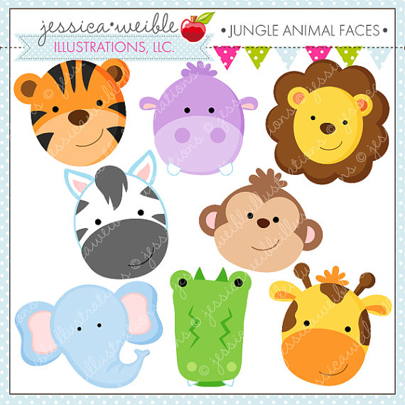 Animal Faces Cute Digital Clipart   Commercial Use Ok   Jungle Animal