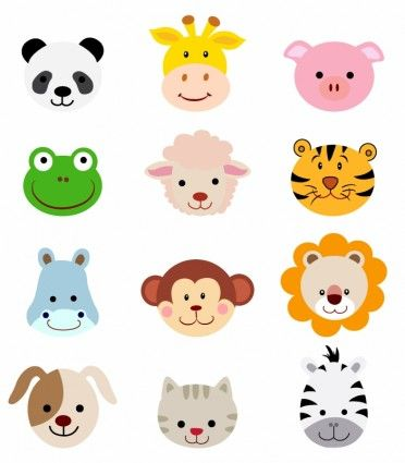 Animal Faces Set   Clip Art   Pinterest