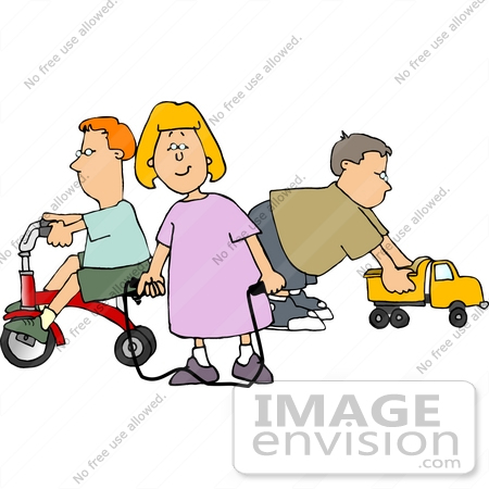 Caucasian Children Playing With Toys Clipart    14935 By Djart