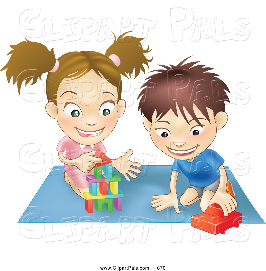 Clipart Of A Pair Of Children   A White Boy And Girl Playing With Toys