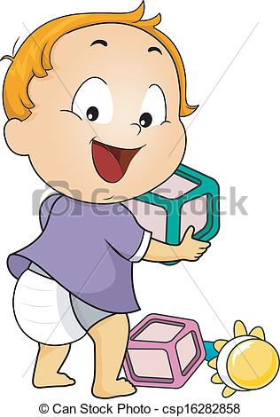 Clipart Vector Of Baby Toys   Illustration Of A Baby Boy Playing With