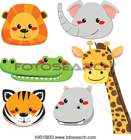 Cute Animal Faces View Large Clip Art Graphic