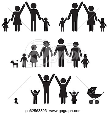 Eps Illustration   People Silhouette Family Icon  Person Vector Woman