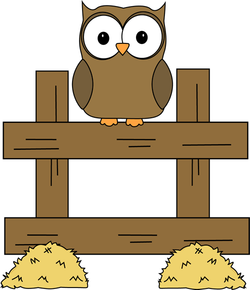 Farm Owl Clip Art Image   Farm Owl Sitting On A Fence With Hay