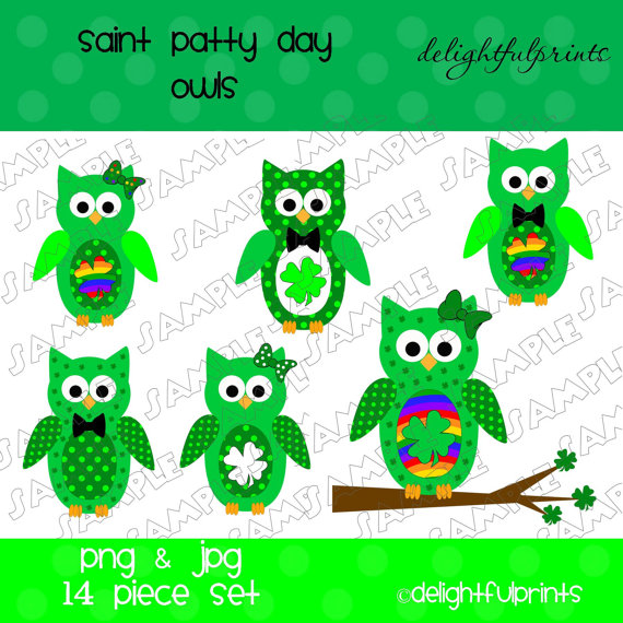 Instand Download Owl Clipart Set St  Patrick S Day Digital Clipart By