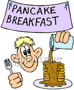 Man Eating A Pancake Breakfast Royalty Free Clipart Picture