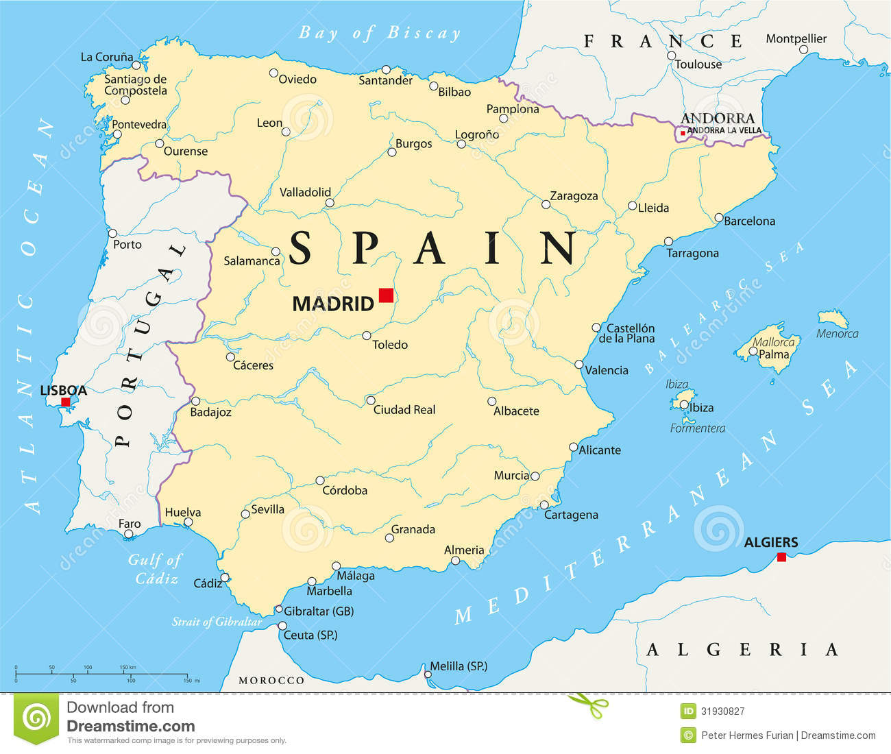 Map Of Spain With National Borders Most Important Cities Rivers And