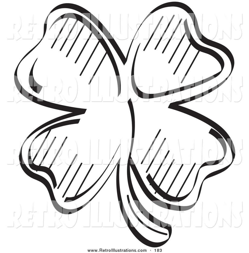 4 leaf clover black and white clipart clipart suggest