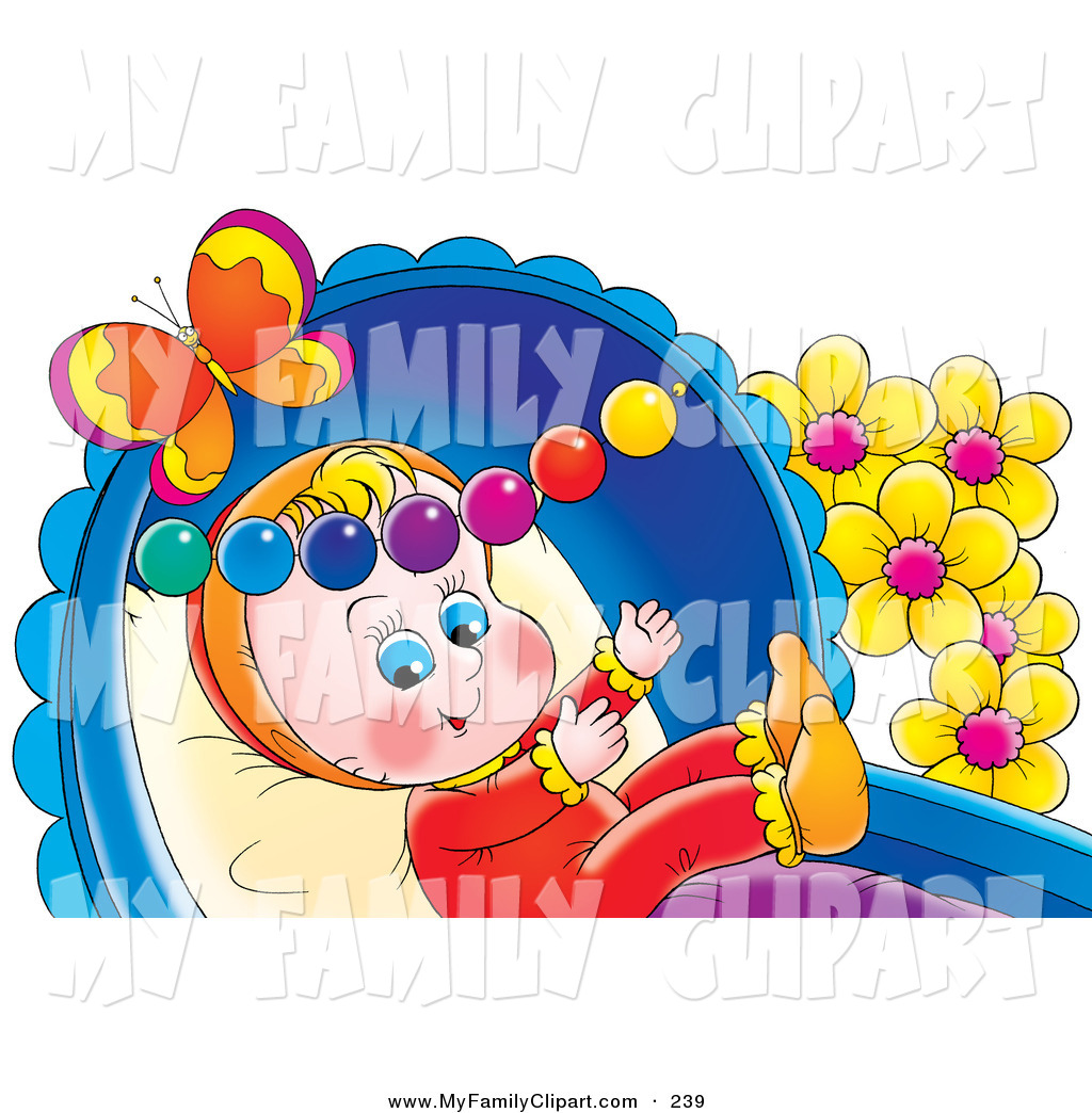 Preview  Clip Art Of A Cute And Happy Baby Playing In A Crib With Toys