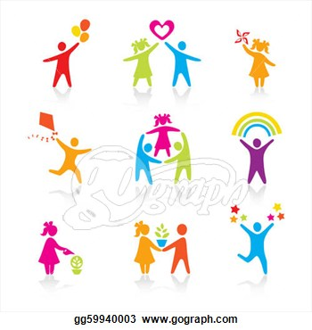 Set Of Icons   Silhouette Family  Woman Man Kid Child Boy Girl
