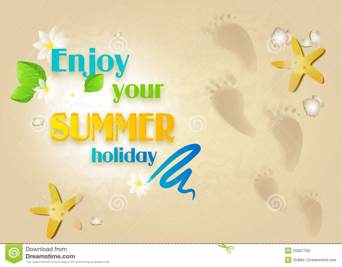 Summer Card With Greeting Enjoy Your Summer Holiday