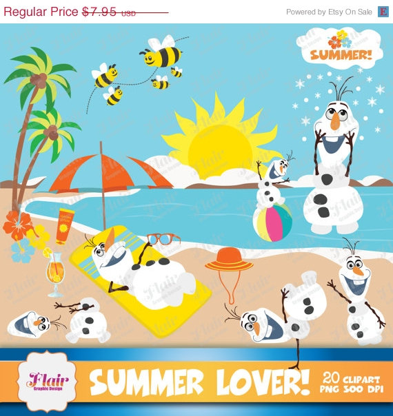 Theme Clipart Frozen Inspired Characters Olaf Clipart Beach Summer
