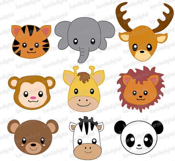 Wild Animals Faces   Digital Clip Art Set   Elephant Tiger Lion