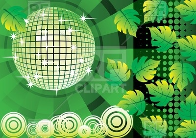 With Disco Ball And Leafs Download Royalty Free Vector Clipart  Eps