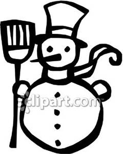 Black And White Snowman With A Broom   Royalty Free Clipart Picture
