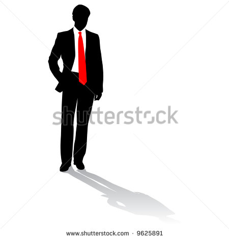 Businessman With Red Tie Silhouettes Stock Vector 9625891