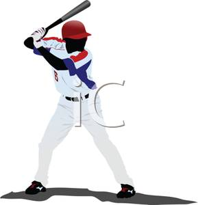 Cartoon Of A Baseball Player Up To Bat   Royalty Free Clipart Picture