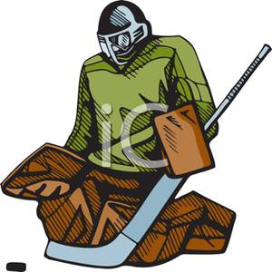 Cartoon Of A Goal Keeper Blocking A Hit   Royalty Free Clipart Picture