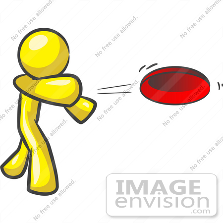 Clip Art Graphic Of A Yellow Guy Character Throwing A Frisbee    37755