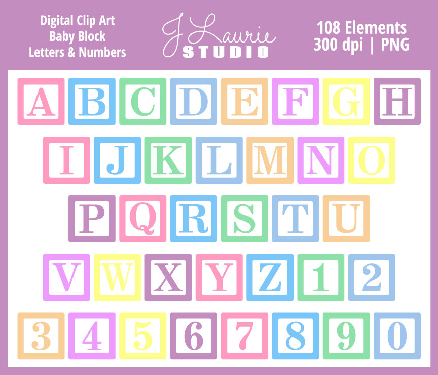 digital alphabet letters clipart baby block by jlauriestudio