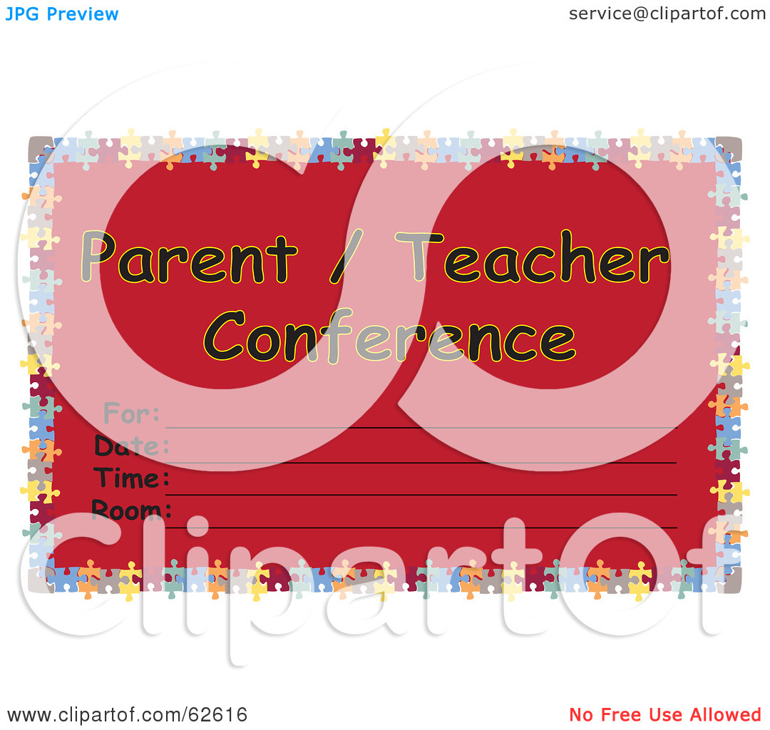 Free  Rf  Clipart Illustration Of A Red Parent Teacher Conference