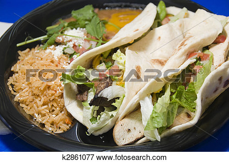 Picture   Fast Food Restaurant Combination Plate Of Mexican Food Steak