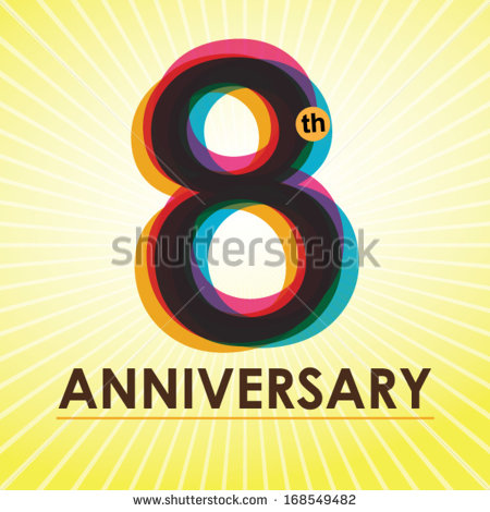 8th Anniversary Poster   Template Design In Retro Style   Vector