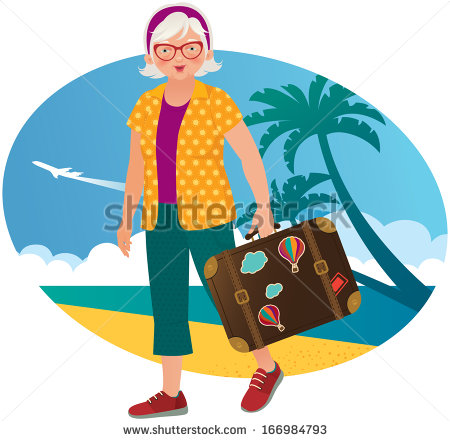 Illustration Old Woman Resting On The Beach Resort   Stock Vector