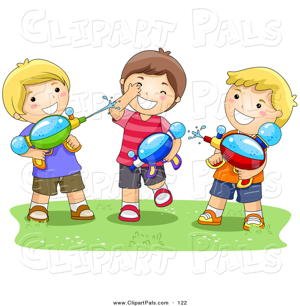 Larger Preview  Pal Clipart Of A Trio Of Boys Playing With Water