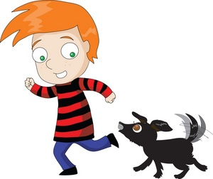 On Image A Cartoon Boy With Red Hair Running And Playing With His Dog