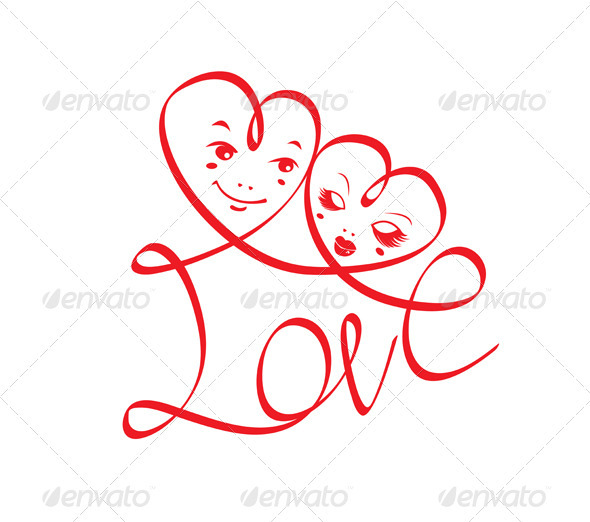 Word Love With Hearts And Funny Faces   Valentines Seasons Holidays