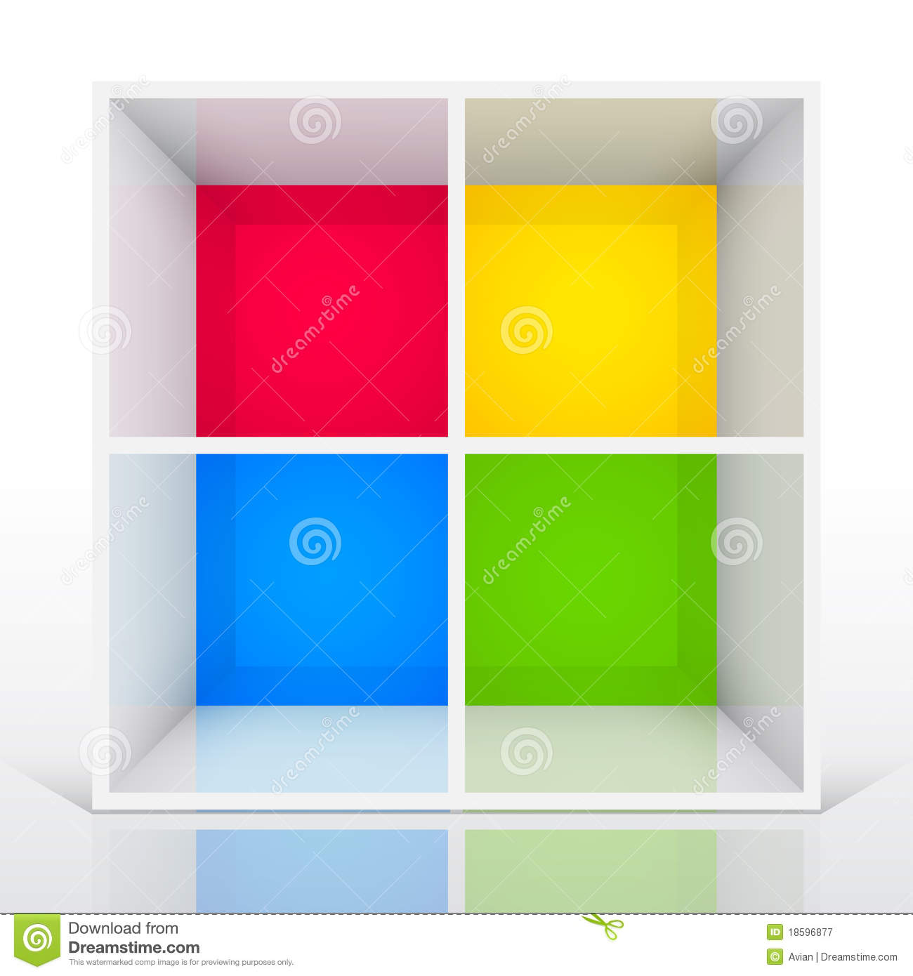 3d Isolated Empty Colorful Bookshelf Royalty Free Stock Photography