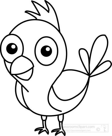 Animals   Cute Blue Bird Black White Outline   Classroom Clipart