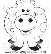 Art Of A Chubby Fat Black And White Spotted Cow Outline By Lal Perera