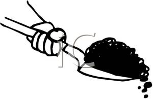 Black And White Dirt In A Shovel Clip Art Image