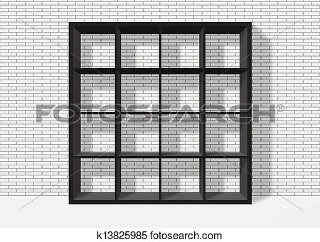 Black Empty Square Bookshelf On White Brick Wall Background View Large