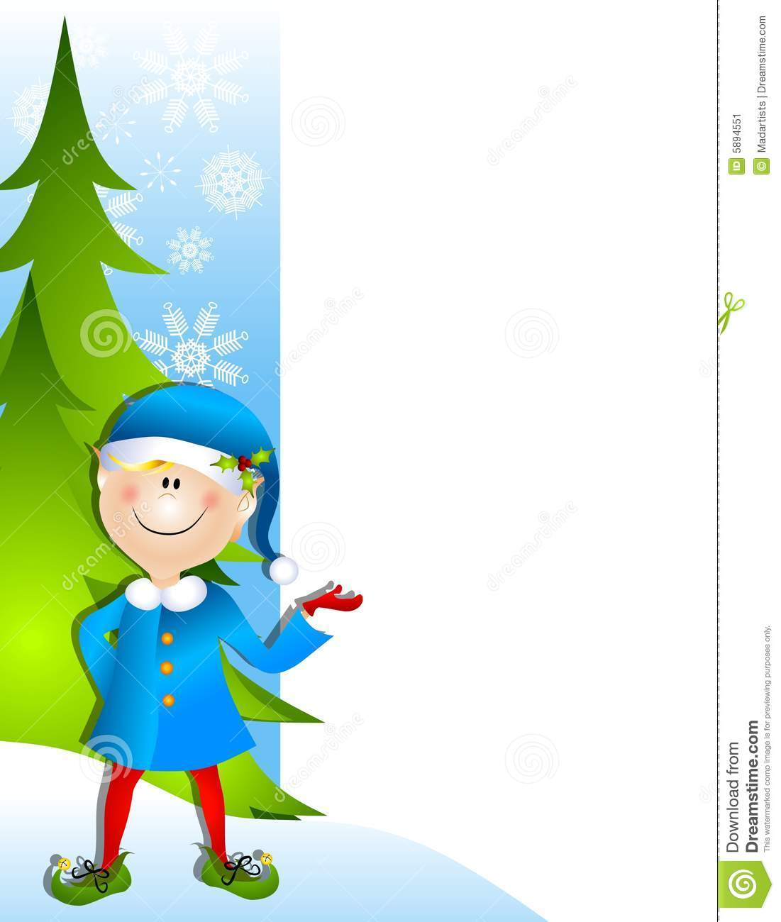 Clip Art Illustration Of A Christmas Santa Elf Standing And Pointing