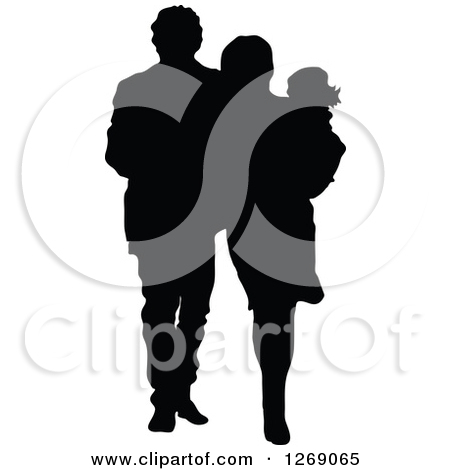 Clipart Of A Black Silhouette Of A Mother And Father Walking And