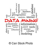 Data Mining Word Cloud Concept In Red Caps With Great Terms