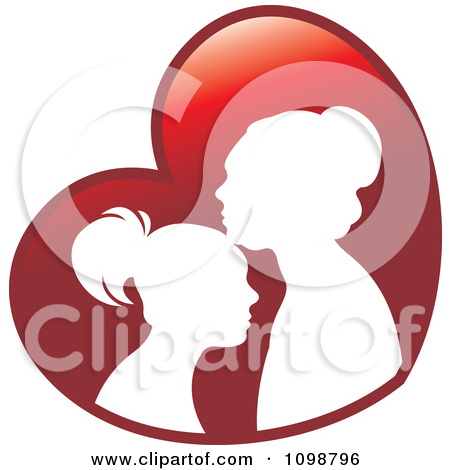 Free Clipart Illustration Of A Silhouetted Mother And Daughter