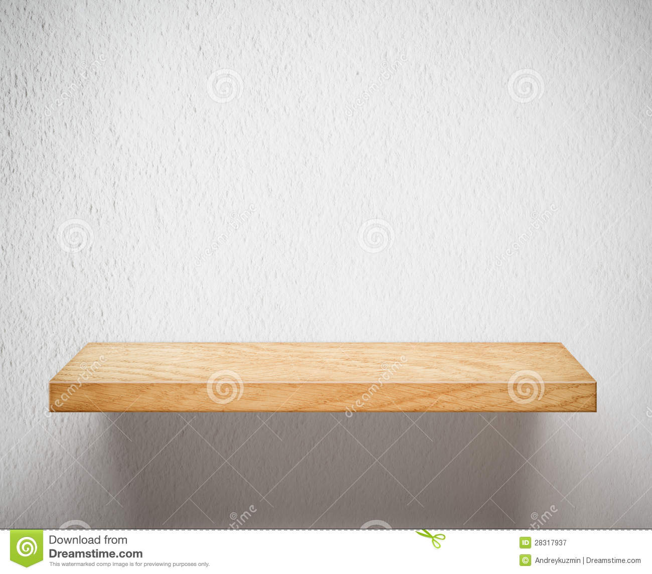 Free Stock Photography  Empty Wooden Shelf Or Bookshelf On White Wall