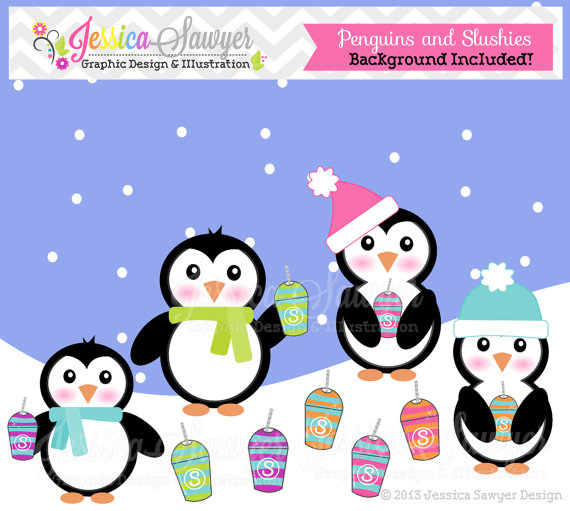 Instant Download Cute Penguins And Slushies Clipart Winter Penguin ...