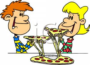 Kids Eating Pepperoni And Cheese Pizza   Royalty Free Clipart Picture