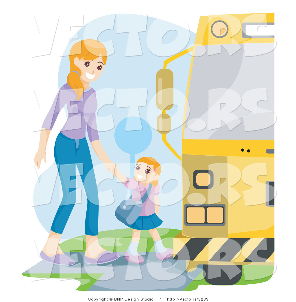 Larger Preview  Vector Of Proud Mother Walking Her Daughter To A