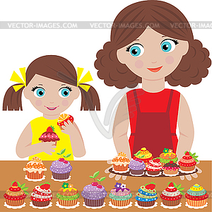 Mother With The Daughter Bake Cupcakes   Vector Clipart   Vector Image