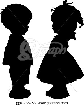 Stock The Two Silhouette Of A Boy And Girl Stock Clip Art Gg61735783