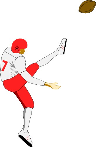 American Football Player Kicking A Ball  Kick American Football Ball