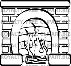 Brick Fireplace Clipart 100689 Coloring Page Outline Of A Log Burning