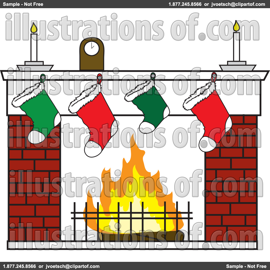 Brick Fireplace Clipart Royalty Free Rf Christmas Clipart Illustration