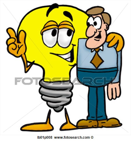 Clip Art   Light Bulb With A Man  Fotosearch   Search Clipart